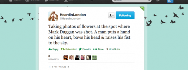 @HeardinLondon's Mark Duggan Tweet