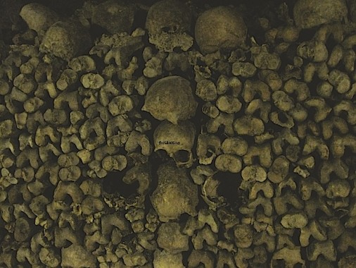 Bone and skulls in the Paris Catacombs