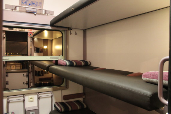 Train Hostel carriage berths. © Sophie Collard